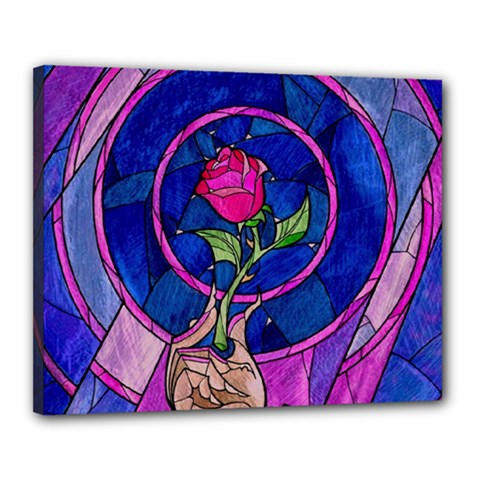 Enchanted Rose Stained Glass Canvas 20  X 16  by Onesevenart