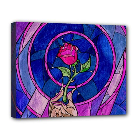 Enchanted Rose Stained Glass Deluxe Canvas 20  X 16   by Onesevenart