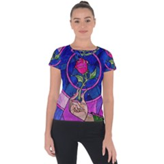 Enchanted Rose Stained Glass Short Sleeve Sports Top  by Onesevenart