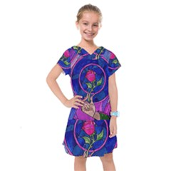 Enchanted Rose Stained Glass Kids  Drop Waist Dress by Onesevenart