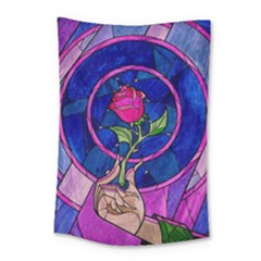 Enchanted Rose Stained Glass Small Tapestry by Onesevenart