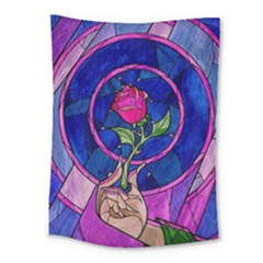 Enchanted Rose Stained Glass Medium Tapestry by Onesevenart