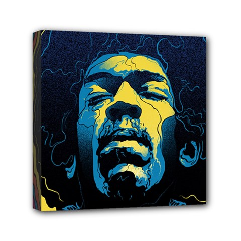 Gabz Jimi Hendrix Voodoo Child Poster Release From Dark Hall Mansion Mini Canvas 6  X 6  by Onesevenart