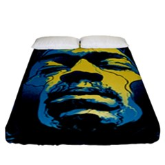 Gabz Jimi Hendrix Voodoo Child Poster Release From Dark Hall Mansion Fitted Sheet (king Size) by Onesevenart