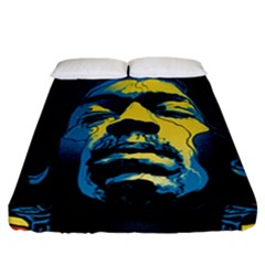 Gabz Jimi Hendrix Voodoo Child Poster Release From Dark Hall Mansion Fitted Sheet (california King Size) by Onesevenart