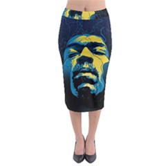 Gabz Jimi Hendrix Voodoo Child Poster Release From Dark Hall Mansion Midi Pencil Skirt by Onesevenart