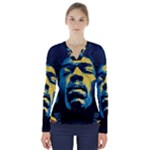 Gabz Jimi Hendrix Voodoo Child Poster Release From Dark Hall Mansion V-Neck Long Sleeve Top