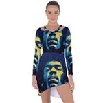 Gabz Jimi Hendrix Voodoo Child Poster Release From Dark Hall Mansion Asymmetric Cut-Out Shift Dress