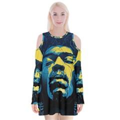 Gabz Jimi Hendrix Voodoo Child Poster Release From Dark Hall Mansion Velvet Long Sleeve Shoulder Cutout Dress by Onesevenart