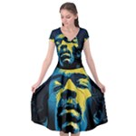 Gabz Jimi Hendrix Voodoo Child Poster Release From Dark Hall Mansion Cap Sleeve Wrap Front Dress