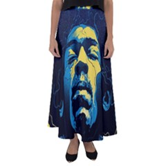 Gabz Jimi Hendrix Voodoo Child Poster Release From Dark Hall Mansion Flared Maxi Skirt by Onesevenart