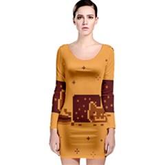 Nyan Cat Vintage Long Sleeve Bodycon Dress by Onesevenart
