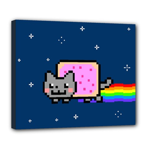 Nyan Cat Deluxe Canvas 24  X 20   by Onesevenart