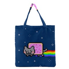 Nyan Cat Grocery Tote Bag by Onesevenart