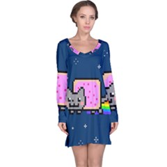 Nyan Cat Long Sleeve Nightdress by Onesevenart