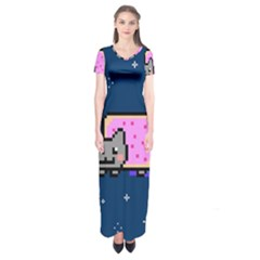 Nyan Cat Short Sleeve Maxi Dress by Onesevenart