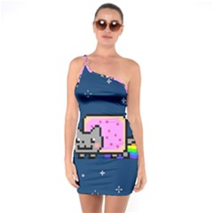 Nyan Cat One Soulder Bodycon Dress by Onesevenart