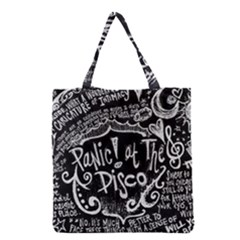 Panic ! At The Disco Lyric Quotes Grocery Tote Bag by Onesevenart