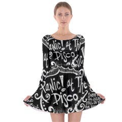 Panic ! At The Disco Lyric Quotes Long Sleeve Skater Dress by Onesevenart