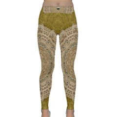 Golden Forest Silver Tree In Wood Mandala Classic Yoga Leggings by pepitasart