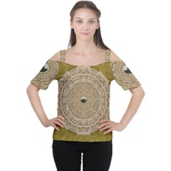 Golden Forest Silver Tree In Wood Mandala Cutout Shoulder Tee by pepitasart