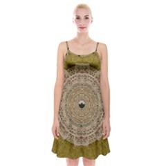 Golden Forest Silver Tree In Wood Mandala Spaghetti Strap Velvet Dress by pepitasart