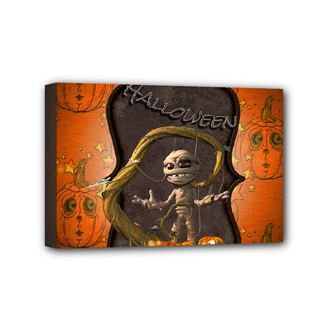 Halloween, Funny Mummy With Pumpkins Mini Canvas 6  X 4  by FantasyWorld7