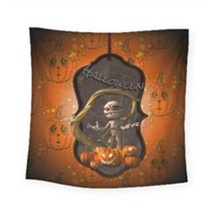 Halloween, Funny Mummy With Pumpkins Square Tapestry (small) by FantasyWorld7