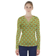 Green And Yellow Banana Bunch Pattern V Neck Long Sleeve Top