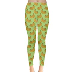 Green And Yellow Banana Bunch Pattern Leggings  by NorthernWhimsy