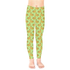Green And Yellow Banana Bunch Pattern Kids  Legging by NorthernWhimsy