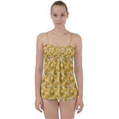Yellow Banana Pattern Babydoll Tankini Set