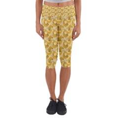 Yellow Banana Pattern Capri Yoga Leggings
