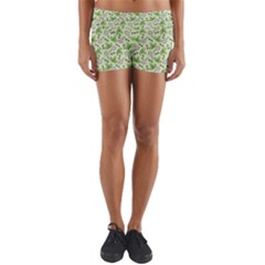 Bees And Green Clover Yoga Shorts
