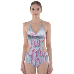 Letters Quotes Grunge Style Design Cut Out One Piece Swimsuit by dflcprints