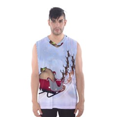 Christmas, Santa Claus With Reindeer Men s Basketball Tank Top by FantasyWorld7