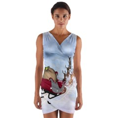Christmas, Santa Claus With Reindeer Wrap Front Bodycon Dress by FantasyWorld7