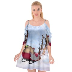 Christmas, Santa Claus With Reindeer Cutout Spaghetti Strap Chiffon Dress by FantasyWorld7