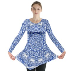 Blue Mandala Art Pattern Long Sleeve Tunic  by paulaoliveiradesign