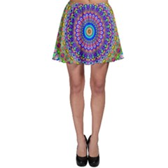Colorful Purple Green Mandala Pattern Skater Skirt by paulaoliveiradesign
