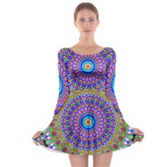 Colorful Purple Green Mandala Pattern Long Sleeve Skater Dress by paulaoliveiradesign