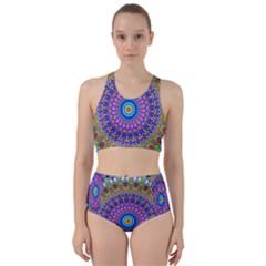 Colorful Purple Green Mandala Pattern Bikini Swimsuit Spa Swimsuit