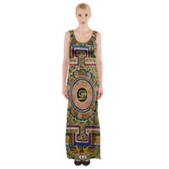 Asian Art Mandala Colorful Tibet Pattern Maxi Thigh Split Dress by paulaoliveiradesign