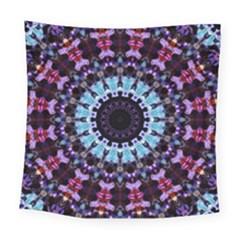 Kaleidoscope Mandala Purple Pattern Art Square Tapestry (large) by paulaoliveiradesign