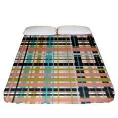 Plaid Pattern Fitted Sheet (king Size) by linceazul