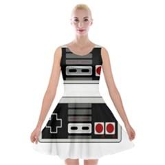 Video Game Controller 80s Velvet Skater Dress by Valentinaart