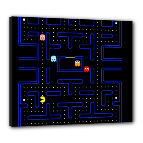 Pac Man Canvas 24  X 20  by Valentinaart