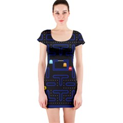 Pac Man Short Sleeve Bodycon Dress by Valentinaart