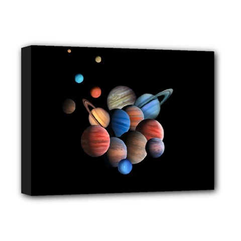 Planets  Deluxe Canvas 16  X 12   by Valentinaart