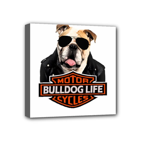Bulldog Biker Mini Canvas 4  X 4  by Valentinaart